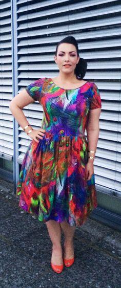 Liestal Air, June 27, 2015. Dress: custom made with fabric by Knipidee. Cuffs: H&M. Shoes: Jimmy Choo