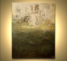 """Large Green Abstract Painting 48"""" x 36"""" Original Contemporary Abstract Modern Palette Knife Fine Art by Osnat"""
