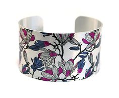 Cuff bracelet, feminine wide bangle, silver with magnolia flowers - C143 £19.50