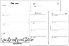 Planner Freebies: 2018 - Woche auf 2 Seiten - Markerschrift - Sweet-Butterfly.de