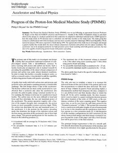 Progress of the Proton-Ion Medical Machine Study (PIMMS) - Springer