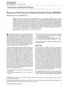 Progress of the Proton-Ion Medical Machine Study (PIMMS) - Springer