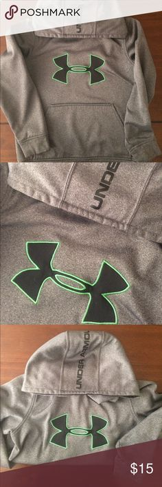 Under Armor Boys Hoodie-Like New Great condition, boys Under Armor gray hoodie. Size Youth small. Features black logo with green embroidery surrounding, black print on hood and front pocket. Smoke free home. Under Armour Shirts & Tops Sweatshirts & Hoodies