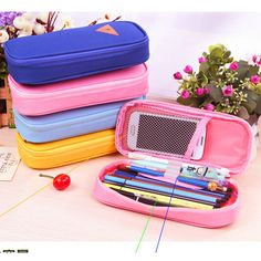 Korean Style Candy Color Brief Canvas Pencil Case Multifunction Stationery Storage Organizer Bag School Supply Escolar Papelaria
