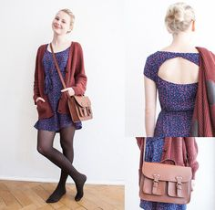H&M Warm Wine Red Cardigan, Zalando Blue Dress With Pink Dots, Cut Out At The Back, H&M Smal Fake Leather Bag - Lots of dots and a smile - Jo Ko | LOOKBOOK.nu