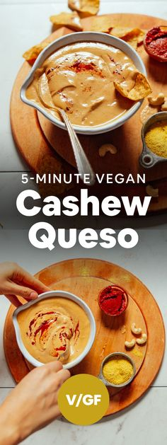 AMAZING Vegan Cashew Queso 1 blender 5 minutes 7 ingredients Perfect for chips nachos taco night and Vegan Queso, Vegan Nachos, Vegan Cheese, Cheese Fruit, Nacho Cheese, Baker Recipes, Gourmet Recipes, Whole Food Recipes, Cooking Recipes
