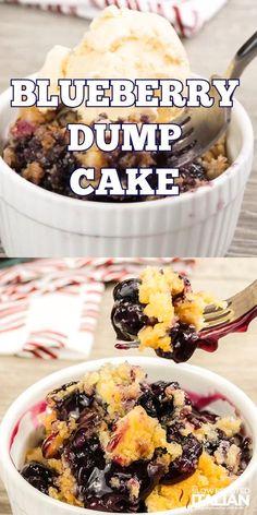 Blueberry Dump Cake - TSRI Recipe Videos - Blueberry dump cake is the easiest cake recipe you'll ever make. It's moist and delicious! Mini Desserts, Easy Blueberry Desserts, Blueberry Dump Cakes, Apple Dump Cakes, Dump Cake Recipes, Blueberry Recipes, Easy Desserts, Delicious Desserts, Dessert Recipes