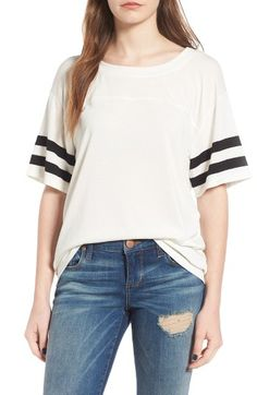 Free shipping and returns on Socialite Varsity Tee at Nordstrom.com. Like a too-big practice shirt borrowed from your football-playing high-school buddy, this coolly draped tee is accented with varsity stripes around the arms so everyone knows you've got game.