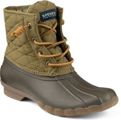 Women's Saltwater Quilted Duck Boot in Olive Green by Sperry Warm Boots, Brown Boots, Saltwater Duck Boot, Sperry Duck Boots, Boating Outfit, Cold Weather Outfits, Sperry Top Sider, Lace Up Shoes, Women's Shoes