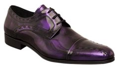Mezlan Mens PAOLINO Purple Shine Finished Calfskin Cap Toe Oxford Dress Shoes