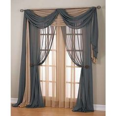 I'm thinking DIY curtains - nectarine and gray?