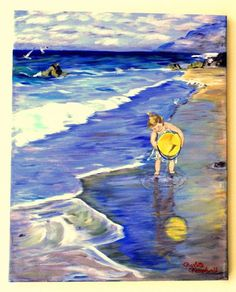 Painting of a Little Girl on the Beach Original Fine Art Acrylic Painting by Charlotte Champlin - pinned by pin4etsy.com