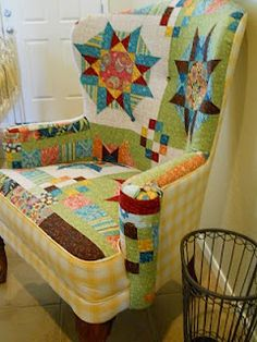 Fiber & Fire: Upcycling furniture with imagination to suit the room! I like this quilt chair and the French accent one too!