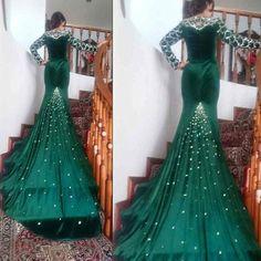 Expensive Green Bling Crystal Mermaid Prom Dress 2017 Royal Blue Long Sleeve Crystal Arabian Evening Dresses