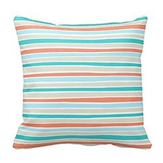 Retro Irregular Lines Pattern Coral Teal Beige Pillow Case