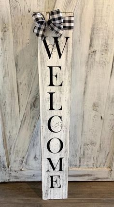 Front Door Decor Discover Welcome signs. front door welcome sign welcome sign for front porch welcome sign vertical welcome front porch signs Outdoor Welcome Sign, Welcome Signs Front Door, Wooden Welcome Signs, Front Porch Signs, Diy Wood Signs, Outdoor Signs, Rustic Wood Signs, Front Door Decor, Porch Wall Decor