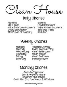What chores to do to have a clean house, cleaning schedule, cleaning tips, homemaker tips House Cleaning Tips, Spring Cleaning, Cleaning Hacks, Cleaning Schedules, Weekly Cleaning, Cleaning Routines, Cleaning Challenge, Daily Schedules, Diy Hacks