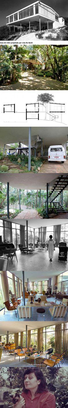 LINA BO BARDI, La maison de verre (1951)_ la Glass House expérimente la fusion de l'air, de la lumière et des œuvres d'art, dans une esthétique minimaliste et moderniste. L'arbre et l'escalier sont à la base de son articulation spatiale. C'est ici que s'éteint en 1992, celle qui ne craignait pas la polémique, se définissait comme «staliniste», «antiféministe» et «personne unique». L'architecte est peu connue en France, éclipsée sans doute par Oscar Niemeyer.