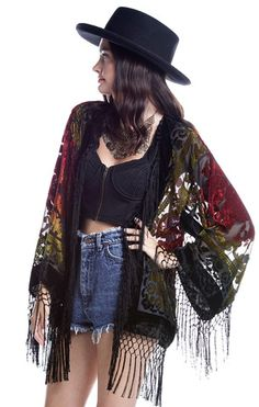Gypsy Dreaming Floral Brocade Fringe Kimono - Multi - Saltwater Gypsy #saltwatergypsy