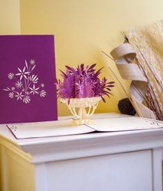 Delight them with a beautiful pop up card full of purple flowers. #specialoccasion