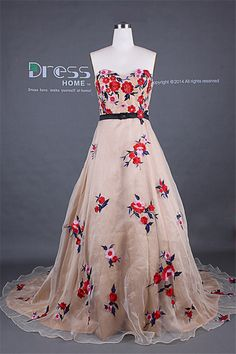 Unique 2014 Champagne Sweetheart Red Flowers by DressHome on Etsy