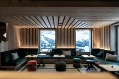 Idea 2581829: Zallinger by noa* network of architecture in Alpe Di Siusi, Italy Hotel Lounge, Alpine Chalet, Ski Chalet, Chalet Style, Suite Principal, Italy Architecture, Interior Architecture, Journal Du Design, Adjustable Height Table