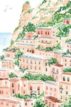 Watercolor Print, Watercolor Illustration, Guache, Spring Art, Italian Art, New Wall, Aesthetic Art, Graphic, Oeuvre D'art