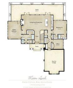 "Mitch Ginn lake house plan for Russell Lands at Lake Martin ""Creole Cottage"" Main Floor Plan www.mitchginn.com"