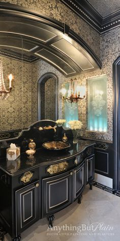 Love this black in the bathroom Custom antique irror panels on the vanity with embedded gold design. Silver highlights on all trim. Design: Jane page Design Group. Inlaid Antique Mirror - traditional - bathroom - houston - Anything But Plain, Inc. Dream Bathrooms, Beautiful Bathrooms, Interior And Exterior, Interior Design, Gothic Interior, Style Deco, Gothic House, Bathroom Interior, Gold Bathroom