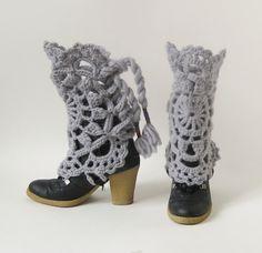 Crocheted legwarmers MAROUSCHKA  grey by stitchingsbym on Etsy, $65.00