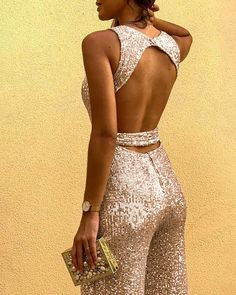Shop Glitter Round Neck Sleeveless Backless Sequins Jumpsuit right now, get great deals at cbrstyle Sequin Jumpsuit, Sequin Mini Dress, Sequin Pants, Backless Jumpsuit, Fancy Dress, Trend Fashion, Gothic Fashion, Overall, Jumpsuits For Women