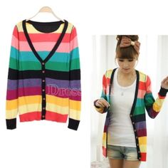 Women's Fashion Colorful Stripes Deep V-neck Knit Cardigan