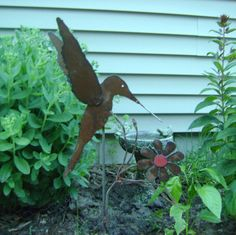 Metal Garden Art Hummingbird Yard Stake by northwindmetalart, $38.00