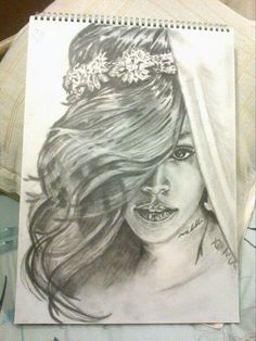 My drawing of Rihanna.