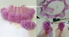 Tulle Child Skirt Model with Roses - vaikams - Baby Girl Dress Patterns, Dresses Kids Girl, Dress Sewing Patterns, Kids Outfits, Flower Girl Dresses, Baby Tutu Dresses, Diy Tutu, Tulle Flowers, Fabric Flowers