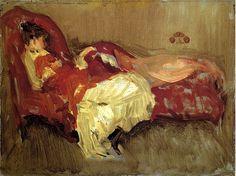 bofransson:  Note in Red, The Siesta,1883-1884-James Abbott McNeill Whistler