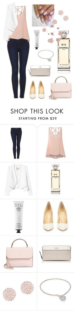 """""""Fresh In Pink"""" by sweatpxnts ❤ liked on Polyvore featuring Topshop, Glamorous, Rebecca Taylor, Chanel, Bobbi Brown Cosmetics, Christian Louboutin, Kate Spade, Swarovski and Adriana Orsini"""