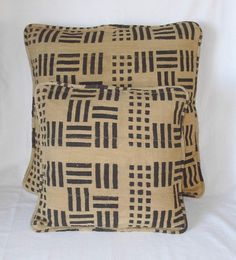Tan and black African mud cloth pillow set with zippered back and piped edges