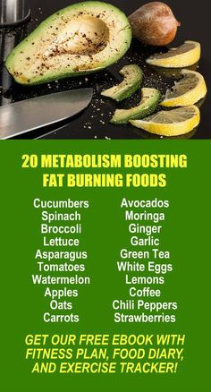20 Metabolism Boosting Fat Burning Foods. Get our FREE weight loss eBook with suggested fitness plan, food diary, and exercise tracker. Learn about Zija's alkaline rich, antioxidant loaded weight loss products that help your body cleanse, detox, increase
