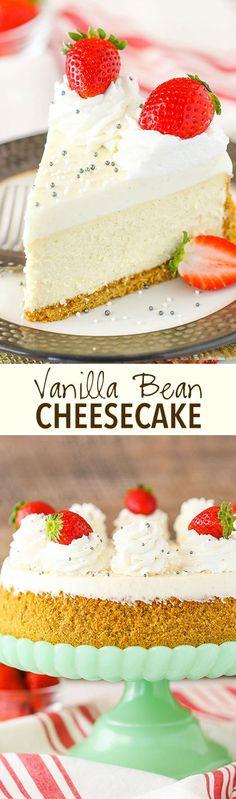 Vanilla Bean Cheesecake - a thick and creamy delicious vanilla bean cheesecake with mousse topping!