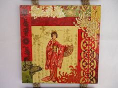 Pano Triptych Geisha and birds' decoupage gift by VesArtAtelier