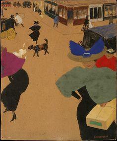 Félix Vallotton (Swiss, 1865–1925).Street Scene in Paris (Coin de rue à Paris), 1895. The Metropolitan Museum of Art, New York. Robert Lehman Collection, 1975. #paris