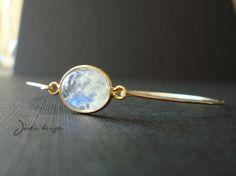 Round Moonstone Bangle Bracelet Gold Filled Bezel Gemstone