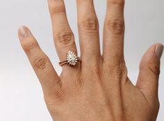 Rhapsody Petite Ring Pear teardrop Art Deco by HeidiGibsonDesigns