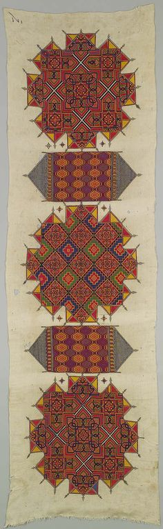 Embroidered panel, ca. 1800 Morocco Linen, silk 9 ft. x 32 1/2 in. (274.3 x 82.5 cm) | The Metropolitan Museum of Art