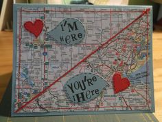 Custom Order I'm Here You're There Miss You Map Card (scrapbook page! I Miss You Card, Miss You Gifts, Cute Cards, Diy Cards, Your Cards, Wedding Card Templates, Wedding Cards, Gifs Ideas, Scrapbook Cards