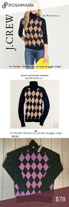 """J. Crew hunter green/purple argyle turtleneck Pretty J. Crew 'Jester' dark hunter green turtleneck sweater with purple argyle on front. First two photos to shown fit, not color combo. Fits L/XL. Approx 26"""" long, 20.5"""" across bust. Retailed at $98. Please read my bio regarding closet policies prior to any inquires. J. Crew Sweaters Cowl & Turtlenecks"""