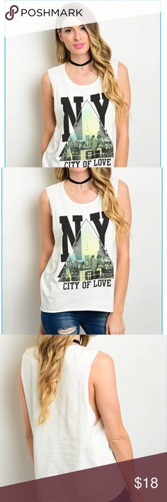 "Sleeveless NY Top NWT Relaxed fit top featuring scoop neckline and graphic W/cityscape design. Rayon with a touch of spandex. SMALL measures: B-42"", L-26"".  NWT Tops"