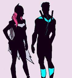 Batgirl (Barbara Gordon) and Nightwing (Dick Grayson) Nightwing And Batgirl, Batgirl And Robin, Batwoman, Barbara Gordon, Im Batman, Marvel Dc Comics, Dc Comics Peliculas, Batman Universe, Dc Universe