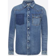 Valentino Uomo Rockstud Untitled Denim Shirt ($1,255) ❤ liked on Polyvore featuring men's fashion, men's clothing, men's shirts, men's casual shirts, shirts, blue, mens long sleeve denim shirt, mens blue shirt, tall mens shirts and mens button front shirts